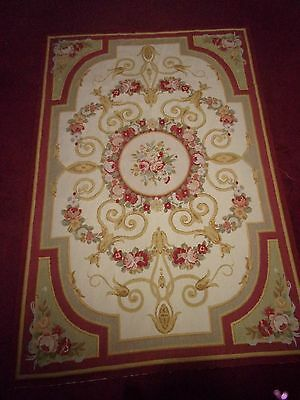 4' by 6' Aubusson Needlepoint Rug Tapestry Roses Floral Medallion GORGEOUS