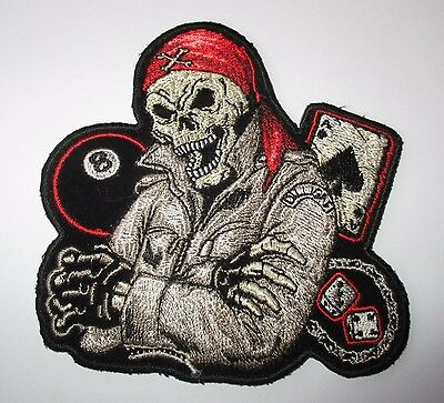 HUGE Skull Dealer Eight Ball Ace Cards Back Patch Sew/Iron Rider biker Vest