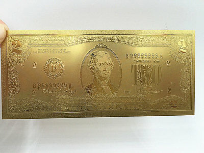 100PC USA $2 Dollar  24K Gold Foil Banknotes  Collections Home Decor Arts Gifts