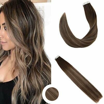 Ugeat 20Ocs Tape in Human Hair Brown with Blonde Ombre Extensions 2/27/2# 50gr