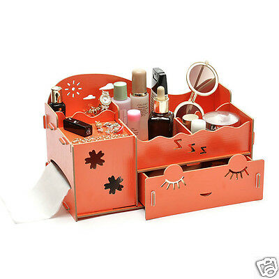 Wooden Cute Eyelashes Cosmetic Makeup Desk Organizer Gadget Storage Box