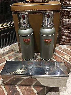 Vtg. Stanley N944 2 Super Vac Thermos Picnic Travel Case Stainless Food Box   j3