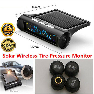 Car Solar Wireless TPMS Tire Pressure LCD Monitoring System 4 External Sensors P