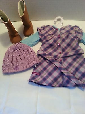 American girl doll pretty & plaid dress outfit