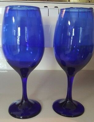Drinking Party In Cobalt Blue One Decanter Four Goblets And One Drinking Glass