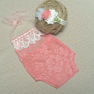 2 piece photo prop Newborn photography props baby girl romper set newborn photo