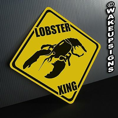 LOBSTER CROSSING SIGN ALUMINUM collectible funny seafood kitchen restaurant