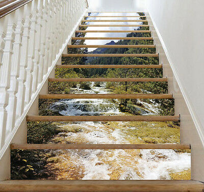 3D Forest River Stair Risers Decoration Photo Mural Vinyl Decal Wallpaper CA