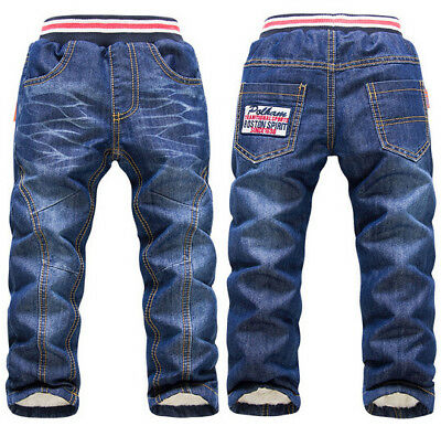 Children Toddler Thick Warm Cashmere Long Pants Boys Girls Winter Thicken Jeans