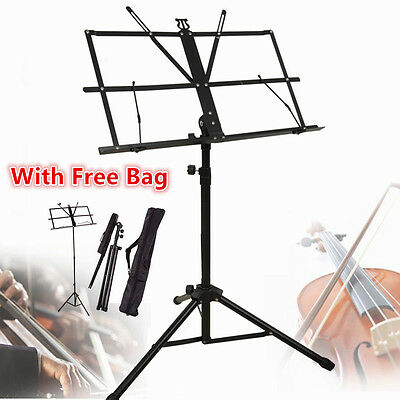Professional Non-slip Music Sheet Stand Folding Adjustable Holder Black Portable