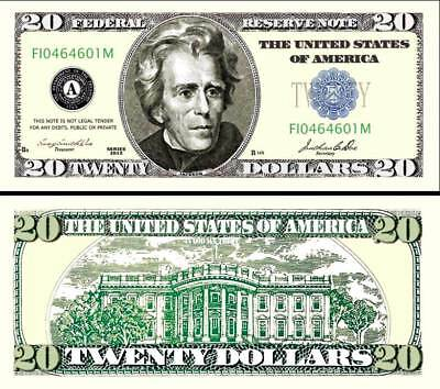$20 Poker Play Twenty Dollar Bill Fake Funny Money Novelty Note with FREE SLEEVE