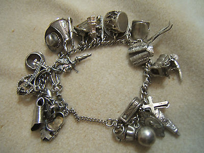 Vintage Sterling Silver Western Cowboy Charm Bracelet 30 Charms Hat Drum Wagon
