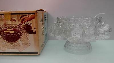 Vintage But NEW Glass PUNCH Bowl SET Jubilee PARTY Bowl 12 GLASSES QZZQ Adelaide