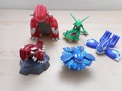 Pokemon Tomy Groudon Rayquaza Kyogre Figure Puppet Soft vynil Bandai Set 5 Lot