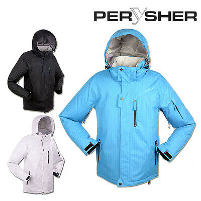 PERYSHER Dimension Mens Snowboard Jacket / Ski Jacket (Black/Blue/White)