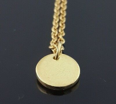 Disc necklace 14k yellow gold plated over 925 sterling silver 16 in link chain