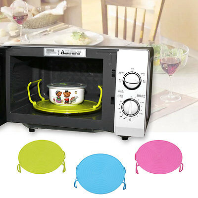 Folding Microwave Oven Cover Dish Plate Holder Insulated Double Layer Kitchen