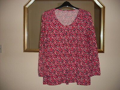 Red, Navy and White Top Size 20