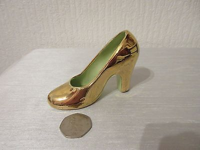Retro/Vintage GILT POTTERY SHOE with Pale Green Inside & Inner Heal - NO DAMAGE