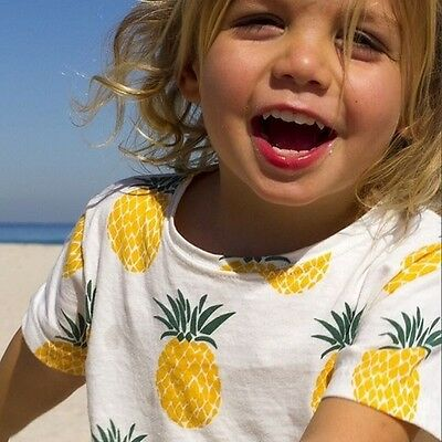 2018 Summer Fashion Pineapple White T-Shirt for Kids Boys & Girls Newborn~5T Top