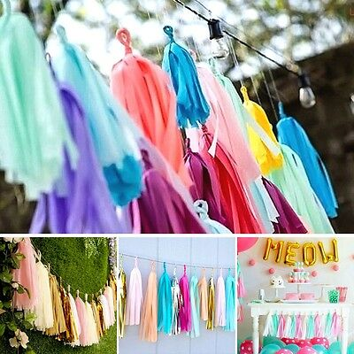 Tissue Tassels Paper Garland Bunting Wedding Party Balloon Xmas Decor UK