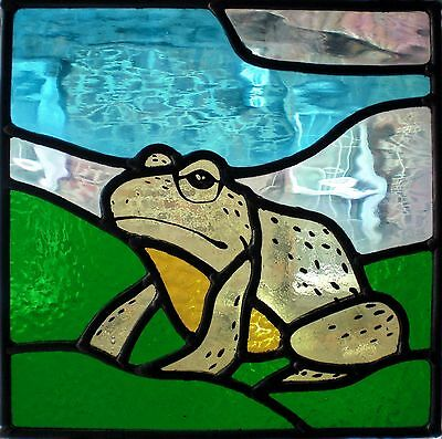 Stained glass frog on lily pad stained glass window art panel