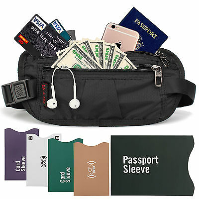 Travel Passport Waist Pouch Security Bag Money Belt & RFID Blocking Cards Wallet