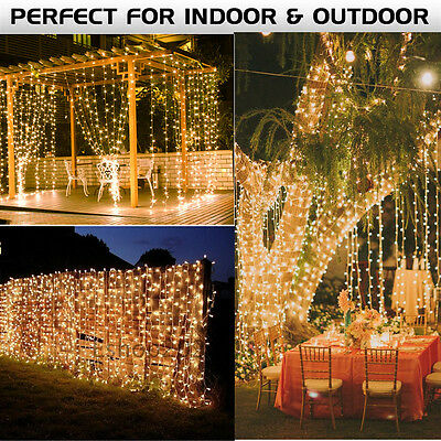 6x3Meter 600 LED String Fairy Curtain Lights Icicle Snowing Christmas Lamp Warm