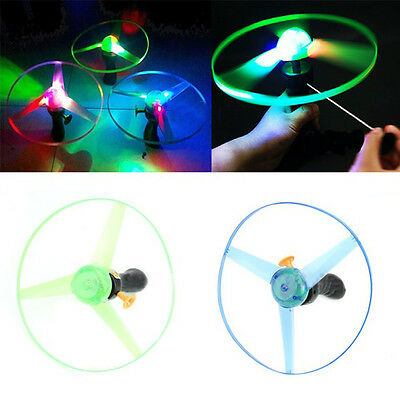 Spin LED Light Flying Saucer Frisbees Boomerangs Helicopter UFO Kids Toy