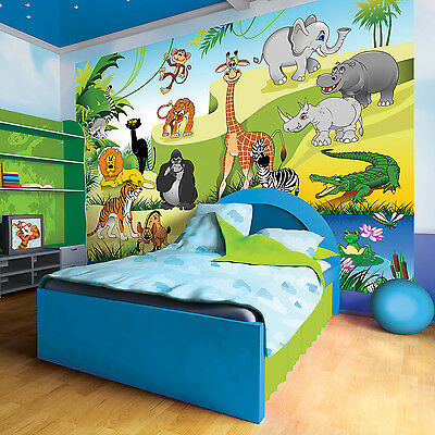 fototapete dschungel tiere afrika kinderzimmer wandbild. Black Bedroom Furniture Sets. Home Design Ideas