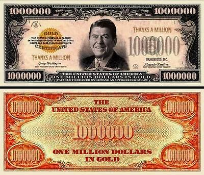 Ronald Reagan Thanks a Million Dollar Bill Collectible Funny Money Novelty Note