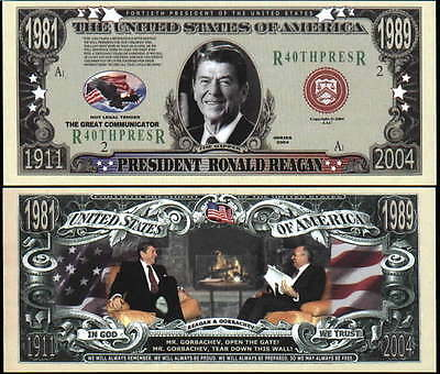 Memory President Ronald Reagan Dollar Bill Funny Money Novelty Note +FREE SLEEVE