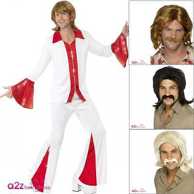 Mens 70s Bjorn Abba Super Trooper Disco Flares Adult Fancy Dress Costume Wig