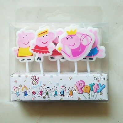 5 x Peppa Pig Candles Birthday Cake Toppers Party