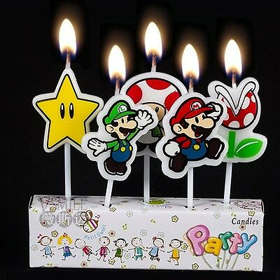 5 x Nintendo Super Mario Candles Birthday Cake Toppers Party