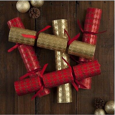 Red & Gold Harlequin Dinner Party Luxury Christmas Crackers, 6 pack