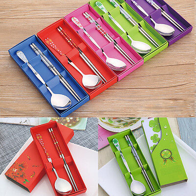 Portable Chopsticks and Spoon Stainless Steel Set Tableware With Box 5 Colors