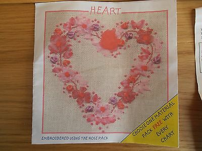 Heart Ribbon Embroidery Kit - Rose Coloured - New In Pack - Crafty Ribbons