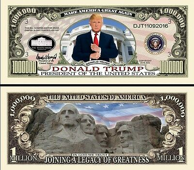 President Donald Trump +Mt Rushmore Million Dollar Bill Funny Money Novelty Note