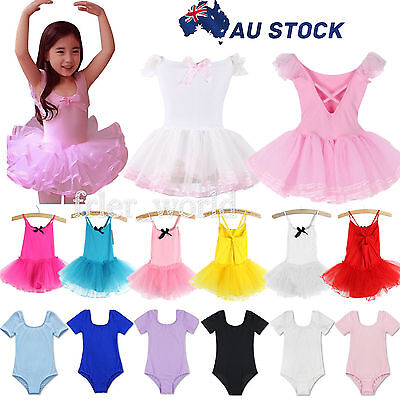 Girls Kids Tutu Ballet Leotard Dance Dress Ballerina Fairy Dancewear Costume AU