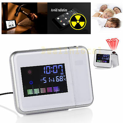 Digital LED Snooze Alarm Clock Time Projector Colorful Weather Station Temp LCD
