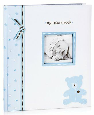 BLUE TEDDY BEAR Pearhead L'il Peach Baby Boy Memory Book NEW WITH DEFECTS