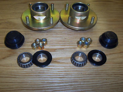 "Pair of Cast 505 Un-Braked Trailer Wheel Hubs 4"" PCD with 1"" L44643 Bearings"
