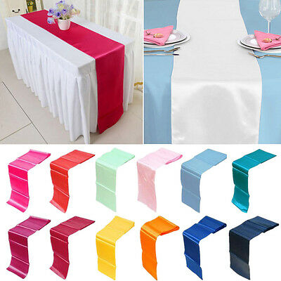 1/5/10 30*275CM Satin Table Runner Wedding Reception Banquet Party Decor 12x108""