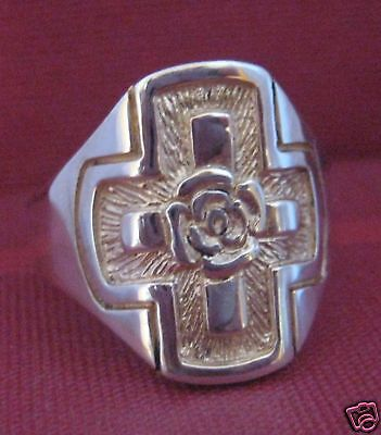 Solid silver Rosicrucian ring - 2386-R