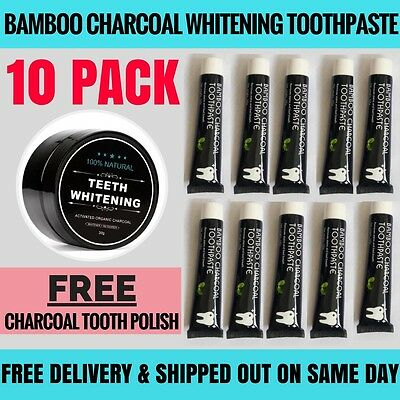 10 PACK Pro 1kg Bamboo Charcoal All Purpose Teeth Whitening Black Toothpaste