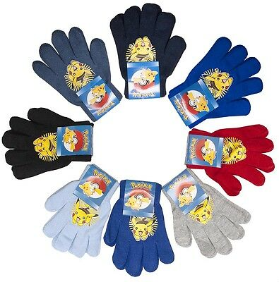 Boys Official Pokemon Pikachu Knit Winter Gloves One Size 3 to 12 Years