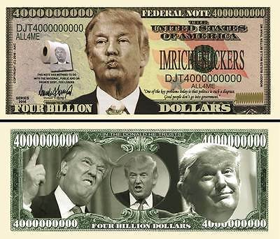 Donald Trump 4 Billion Dollar Fake Play Funny Money Novelty Note + FREE SLEEVE