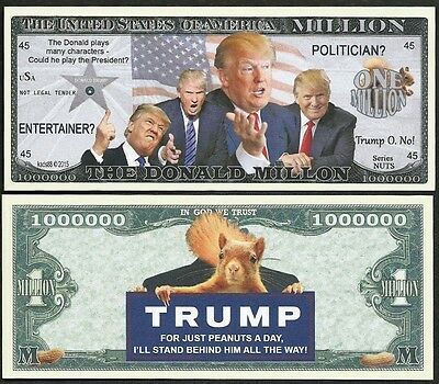 The Donald ~ Trump Million Dollar Bill Funny Money Novelty Note with FREE SLEEVE