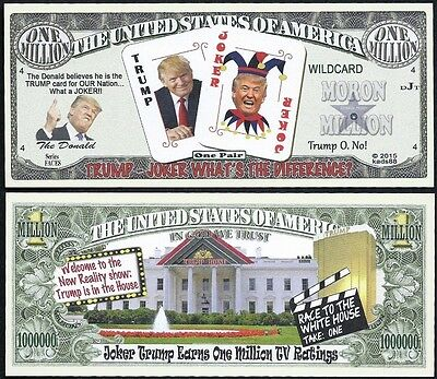 Donald Trump the Joker Million Dollar Bill Funny Money Novelty Note +FREE SLEEVE